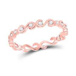Womens Round Diamond S-Shape Stackable Band Ring 1/8 Cttw 10kt Rose Gold - REF-12F9W