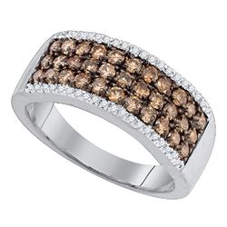 Womens Round Brown Diamond Band Ring 1 Cttw 14kt White Gold - REF-49X9A