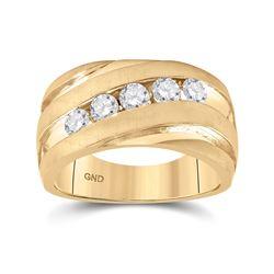 Mens Round Diamond Wedding Anniversary Band Ring 1 Cttw 10kt Yellow Gold - REF-148X9A