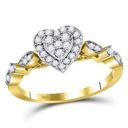 Womens Round Diamond Heart Cluster Ring 1/3 Cttw 14kt Yellow Gold - REF-34F5W