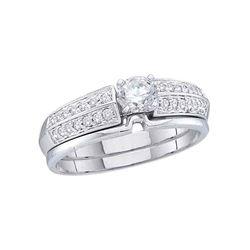 Round Diamond Bridal Wedding Ring Band Set 1/2 Cttw 14kt Yellow Gold - REF-65A5M