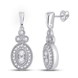 Womens Round Diamond Oval Dangle Earrings 1/4 Cttw 10kt White Gold - REF-21M5H