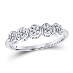 Womens Round Diamond Cluster Ring 1/10 Cttw 10kt White Gold - REF-11A9M