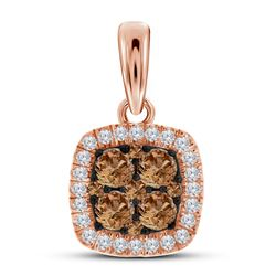 Womens Round Brown Diamond Square Cluster Pendant 1/2 Cttw 10kt Rose Gold - REF-27X9A