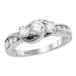 Round Diamond 3-stone Milgrain Bridal Wedding Engagement Ring 1 Cttw 14kt White Gold - REF-128Y9N