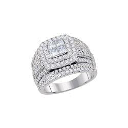 Princess Diamond Cluster Bridal Wedding Engagement Ring 2 Cttw 14kt White Gold - REF-186A5M