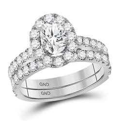 Oval Diamond Bridal Wedding Ring Band Set 1-7/8 Cttw 14kt White Gold - REF-296K5Y