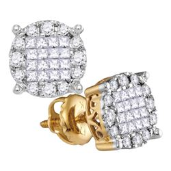 Womens Princess Diamond Cluster Earrings 1/2 Cttw 14kt Yellow Gold - REF-41H5R