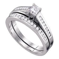 Princess Diamond Bridal Wedding Ring Band Set 1/2 Cttw 14kt White Gold - REF-46F5W