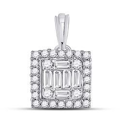 Womens Baguette Diamond Square Cluster Pendant 1/5 Cttw 14kt White Gold - REF-17K5Y