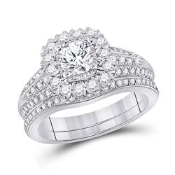 Cushion Diamond Bridal Wedding Ring Band Set 1-1/2 Cttw 14kt White Gold - REF-241Y5N