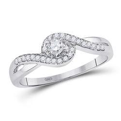 Womens Round Diamond Solitaire Swirl Promise Ring 1/5 Cttw 10kt White Gold - REF-20W9K