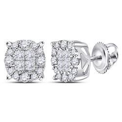 Womens Princess Diamond Fashion Cluster Earrings 1/2 Cttw 14kt White Gold - REF-41F9W