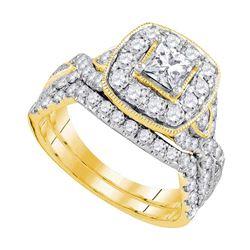 Princess Diamond Bridal Wedding Ring Band Set 2 Cttw 14kt Yellow Gold - REF-214F5W