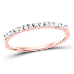 Womens Round Diamond Wedding Single Row Band 1/6 Cttw 14kt Rose Gold - REF-13K9Y