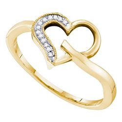 Womens Round Diamond Heart Ring 1/20 Cttw 10kt Yellow Gold - REF-9N9F
