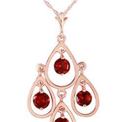 Genuine 1.20 ctw Garnet Necklace 14KT Rose Gold - REF-30Z7N