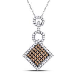 Womens Round Brown Diamond Diagonal Square Pendant 1/3 Cttw 10kt White Gold - REF-10N5F