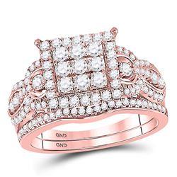 Round Diamond Bridal Wedding Ring Band Set 1 Cttw 14kt Rose Gold - REF-82M9H