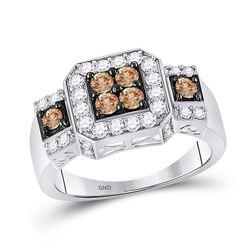 Womens Round Brown Diamond Cluster Ring 1 Cttw 14kt White Gold - REF-56K5Y