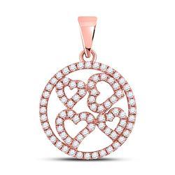 Womens Round Diamond Heart Circle Pendant 1/2 Cttw 10kt Rose Gold - REF-25Y9N