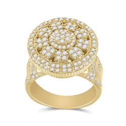 Mens Round Diamond Statement Cluster Ring 2-5/8 Cttw 14kt Yellow Gold - REF-203X9A