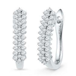 Womens Round Diamond Oblong Hoop Earrings 1/2 Cttw 10kt White Gold - REF-35K9Y