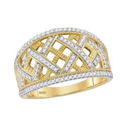 Womens Round Diamond Lattice Fashion Band Ring 1/3 Cttw 10kt Yellow Gold - REF-25Y9N