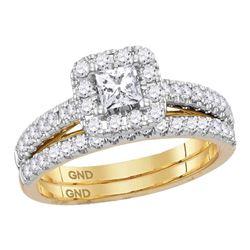 Diamond Princess EGL Bridal Wedding Ring Band Set 1 Cttw 14kt Yellow Gold - REF-101H5R