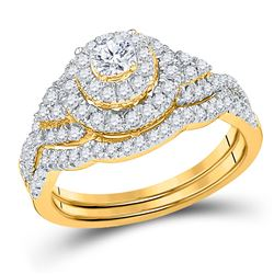Round Diamond Double Halo Bridal Wedding Ring Band Set 3/4 Cttw 10kt Yellow Gold - REF-61F9W