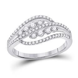 Womens Round Diamond Crossover Fashion Ring 1/2 Cttw 10kt White Gold - REF-31F5W