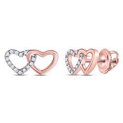 Womens Round Diamond Heart Earrings 1/12 Cttw 10kt Rose Gold - REF-7K9Y