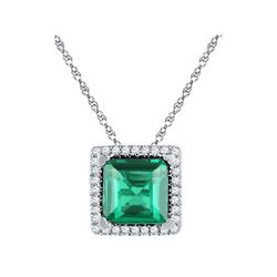 Womens Princess Lab-Created Emerald Square Pendant 1-3/4 Cttw 10kt White Gold - REF-9M5H