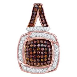 Womens Round Red Color Enhanced Diamond Square Pendant 1/4 Cttw 10kt Rose Gold - REF-23R9X