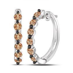 Womens Round Brown Diamond Hoop Earrings 1 Cttw 10kt White Gold - REF-27N9F