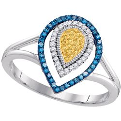 Womens Round Yellow Color Enhanced Diamond Teardrop Cluster Ring 1/5 Cttw 10kt White Gold - REF-21K9