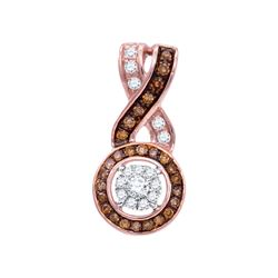 Womens Round Brown Diamond Cluster Pendant 1/4 Cttw 10kt Rose Gold - REF-16K9Y