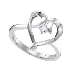 Womens Round Diamond Heart Promise Ring 1/20 Cttw 10kt White Gold - REF-14N5F