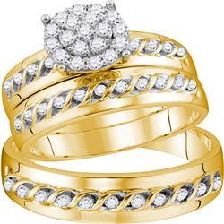 His Hers Round Diamond Cluster Matching Wedding Set 3/4 Cttw 10kt Yellow Gold - REF-63K9Y