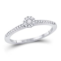 Womens Round Diamond Solitaire Promise Ring 1/8 Cttw 10kt White Gold - REF-13A9M