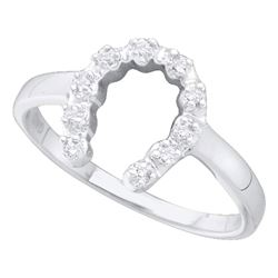 Womens Round Diamond Lucky Horseshoe Ring 1/20 Cttw 14kt White Gold - REF-12K5Y