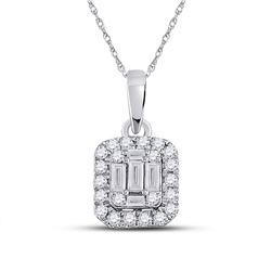 Womens Baguette Diamond Cluster Pendant 1/4 Cttw 14kt White Gold - REF-21K5Y