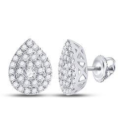 Womens Round Diamond Teardrop Cluster Earrings 1/2 Cttw 10kt White Gold - REF-32M5H