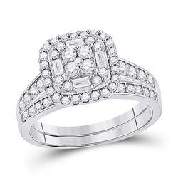 Round Diamond Bridal Wedding Ring Band Set 1 Cttw 14kt White Gold - REF-74K5Y