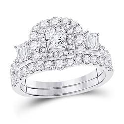 Princess Diamond Bridal Wedding Ring Band Set 2 Cttw 14kt Two-tone Gold - REF-178X5A