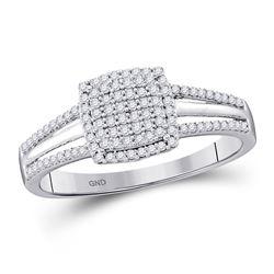 Round Diamond Square Cluster Bridal Wedding Engagement Ring 1/4 Cttw 10kt White Gold - REF-16K9Y