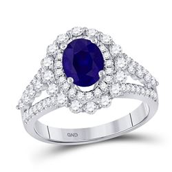 Womens Oval Blue Sapphire Solitaire Diamond Ring 2-1/3 Cttw 14kt White Gold - REF-93Y9N