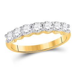 Womens Round Diamond Single Row Band Ring 1 Cttw 14kt Yellow Gold - REF-98X5A