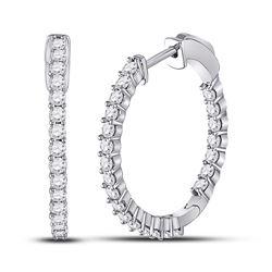 Womens Round Diamond Single Row Hoop Earrings 1-1/2 Cttw 14kt White Gold - REF-87H5R