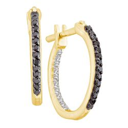 Womens Round Black Color Enhanced Diamond Hoop Earrings 1/4 Cttw 10kt Yellow Gold - REF-14W9K